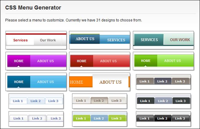 CSS Menu Generator by CSS Portal