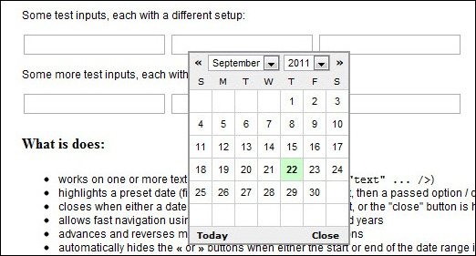 Simple jQuery date-picker plugin