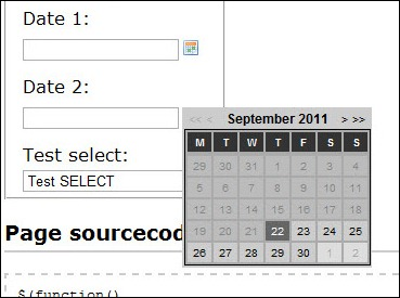 jQuery date picker plug-in