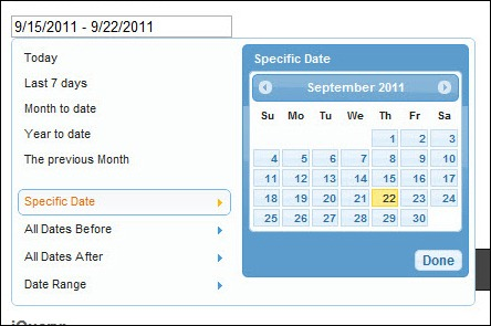 Date Range Picker using jQuery