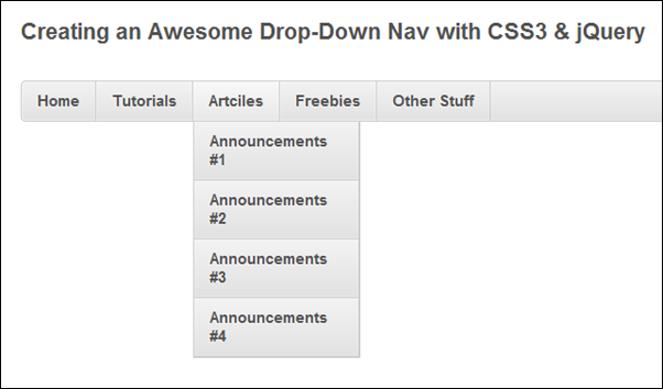 Creating an Awesome Drop-Down Nav with CSS3 & jQuery