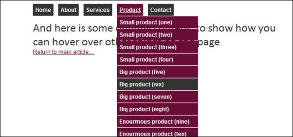 Creating a pure CSS dropdown menu