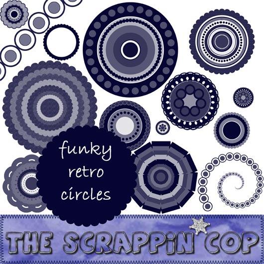 ScrappinCop Funky Retro Circle